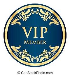 azul, vip, miembro, insignia, con, dorado, vendimia, patrón