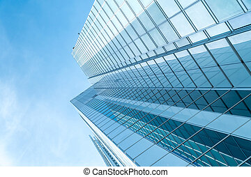 azul, vista, ángulo, rascacielos, bajo