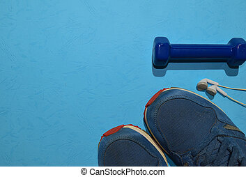azul, vista, concepto, audífono, espacio, sano, ...