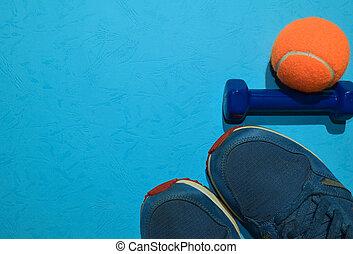 azul, vista, concepto, entrenamiento, espacio, sano, cima, ...