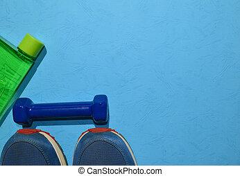 azul, vista, concepto, espacio, sano, entrenamiento, cima, ...