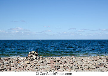 azul, vista, pedregoso, costa