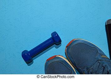 azul, vista, smartphone, espacio, sano, entrenamiento, cima...