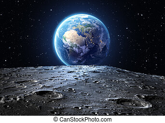 azul, vistos, tierra, luna