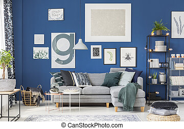 azul, vivendo, cozy, sala