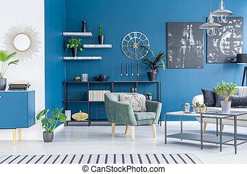 azul, vivendo, interior, quarto moderno