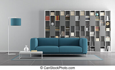 azul, vivendo, quarto moderno, cinzento
