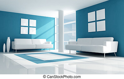 azul, vivendo, quarto moderno