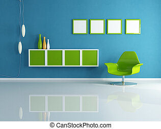 azul, vivendo, verde, sala, contemporâneo