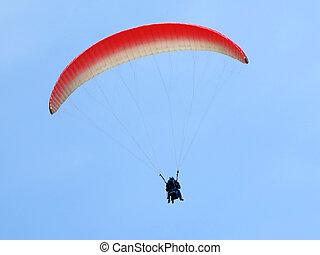 azul, voando, céu, paraglider