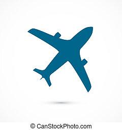 azul, voando, isolado, ilustração, vetorial, icon., fundo, branca, avião