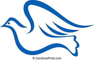 azul, voando, pomba, ilustração