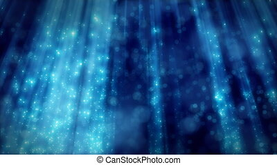 azul, volta, fundo, partículas