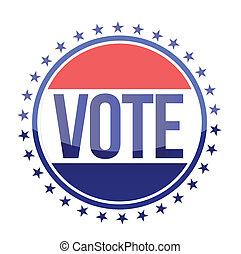 azul, voto, rojo blanco, sello
