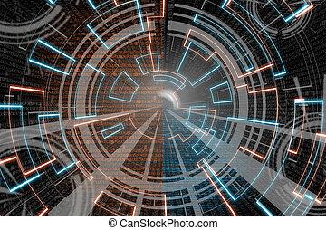azul, wave., experiência., jogo, scifi, brilho alaranjado, ou, circular
