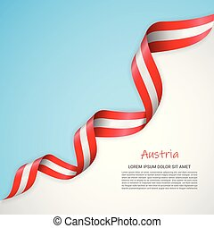 azul, waving, logotipos, materiais, cartaz, bandeira, folhetos, day., cores, vetorial, independência, modelo, austria., branca, bandeira, desenho, fita, impresso