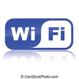 azul, wifi, icono