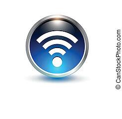 azul, wifi, símbolo