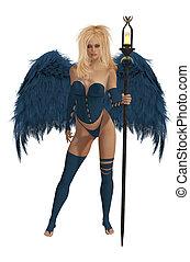 azul, winged, cabelo, loiro, anjo