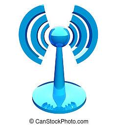 azul, (wireless), moderno, icono, wifi