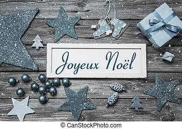 azul, woode, texto, francés, alegre, navidad blanca, tarjeta