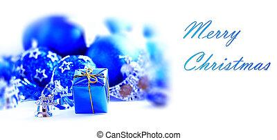 azul, xmas, decoração, e, presente, com, espaço cópia