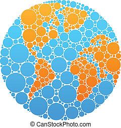 azul, y, círculo anaranjado, globo