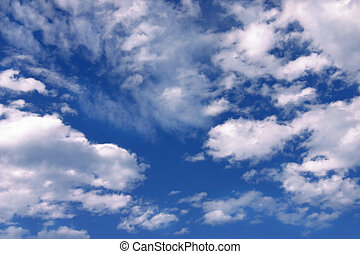 azul, y, cielo, nubes