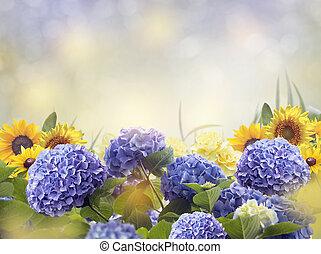 azul, y, flores amarillas