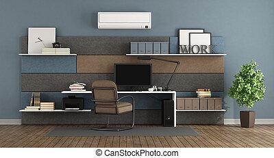 azul, y, marrón, moderno, oficina