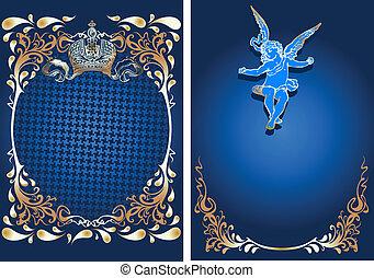 azul, y, oro, romance, florido, bandera, con, cupid., vector, illustration.