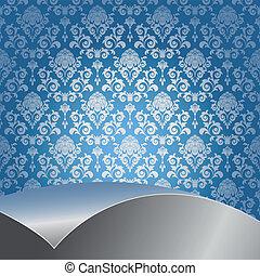 azul, y, plata, plano de fondo