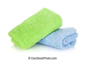 azul y verde, toallas