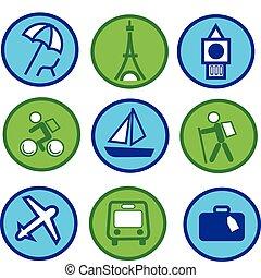 azul y verde, viajar, y, turismo, icono, conjunto, -1
