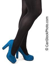 azul, zapatos de taco alto