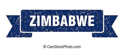 azul, zimbabwe, ribbon., señal, grunge, banda