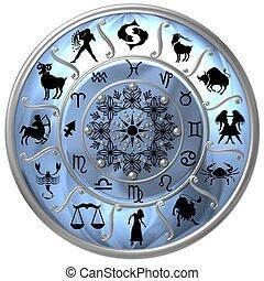 azul, zodíaco, disco, con, señales, y, símbolos