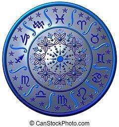azul, zodíaco, disco