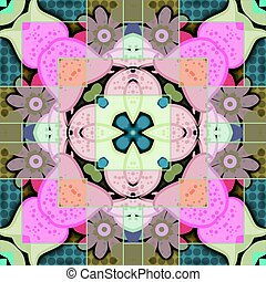 azulejo, abstratos, mosaico