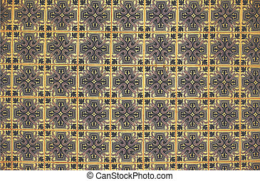 Azulejo background, portuguese or moroccan, tiles, arabic wall design - Lisbon, Portugal December 26, 2016