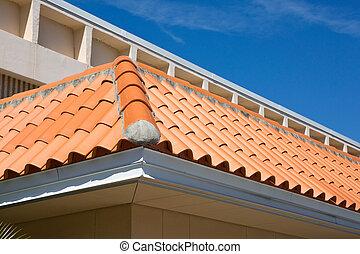 azulejo, barril, detalhe, telhado