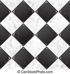 azulejo, blanco, negro