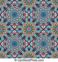 azulejo, boho, flor, quadrados, coloridos