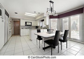 azulejo, branca, cozinha