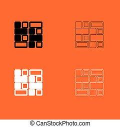 azulejo, branca, jogo, pretas, ícone