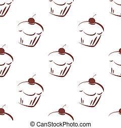 azulejo, cor-de-rosa, cupcake, vetorial, padrão