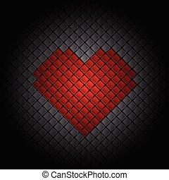 azulejo, coração, fundo