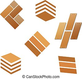 azulejo, de madera, conjunto, logotipo