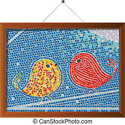 azulejo de mosaico, aves