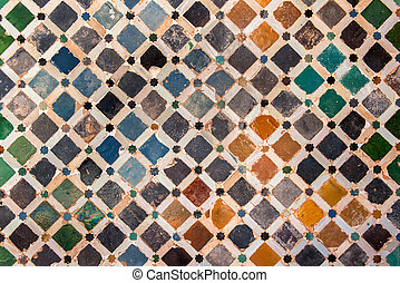 azulejo, decoración, palacio, alhambra, españa